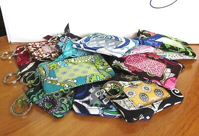 VERA BRADLEY NEW ADDED RETIRED KEY CLIP ZIP ID COIN PURSE CHOICE OF PATTERNS NWT