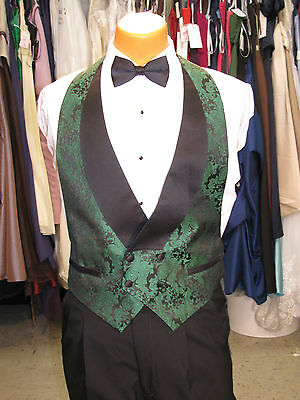 Mens Formal Vest Black And Green Paisley Design Large Include Bow Tie
