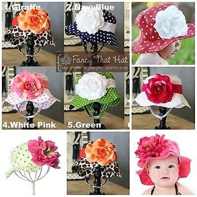 Baby/Girl Beautifull Floppy Sun Hat attached Flower Boutique Style New