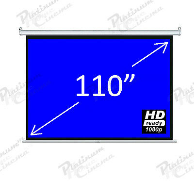 """New 110"""" Electric Motorized HD Projector Projection Screen Remote 4:3 Glass Bead"""