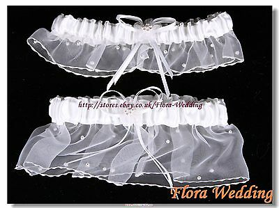Two Piece WHITE Satin & Organza Bridal Wedding BOXED GARTER SET with pearls,G3