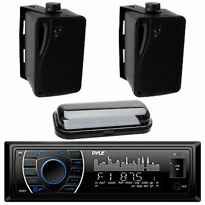 New In Dash Boat Marine MP3 USB Radio w/ 2 Black Box Waterproof Speakers System