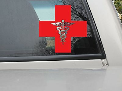 Red Cross W/ Die Cut Staff of Life Sticker Vinyl Decal - You Choose Size & Color