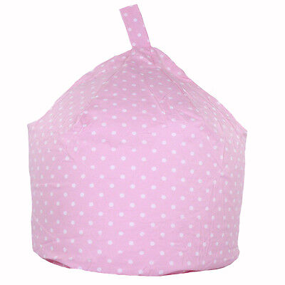 Childrens Kids Cotton Baby Pink White Polka Dot Bean Bag Seat Chair with Filling