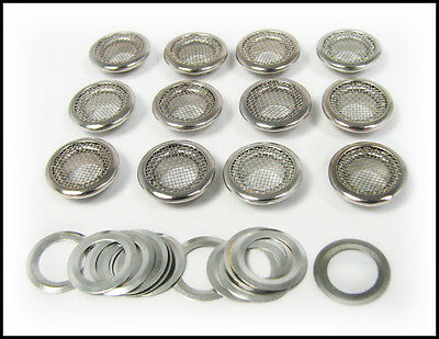 Cigar Box Guitar Parts: 12pc. 15mm Screened Nickel Grommets & Washers 32-73-01