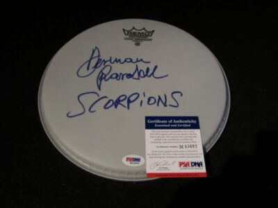 HERMAN RAREBELL SIGNED WHITE DRUMHEAD PSA/DNA RARE THE SCORPIONS 2
