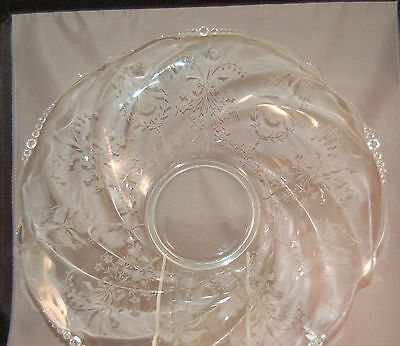 "Elegant Depression Glass Heisey Orchid Etched 12 1/2"" Bowl!"