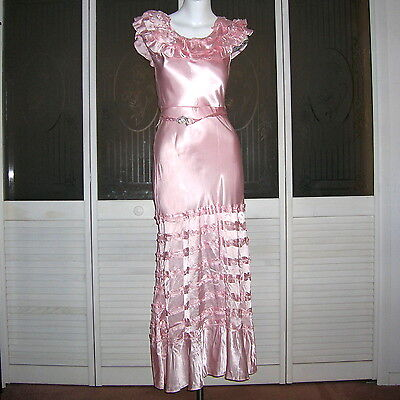 Vintage 20s 30s Ruffled Satin Flapper Gown Hollywood Glamour Gown Wedding Dress