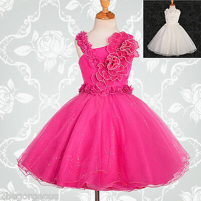 Pearls Flower Girl Dresses Wedding Bridesmaid Party Age 2-9 Years #172