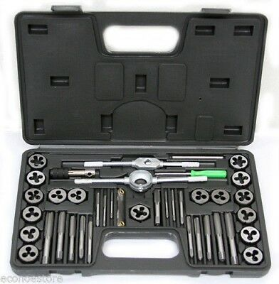 40 PC SAE Tap & Die Dies Set Bolt Screw Extractor / Puller Removal Kit /w Case