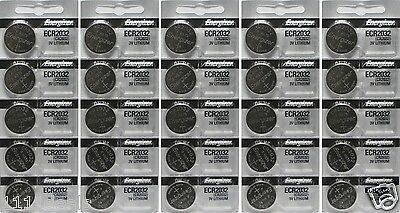 25 New Genuine Energizer ECR2032 Fresh Date CR2032  2032 Lithium 3v Batteries