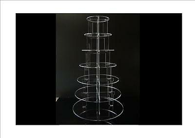 TK 7 Tier Circle Clear Acrylic Cupcake Party Wedding Cake Display Tower Stand