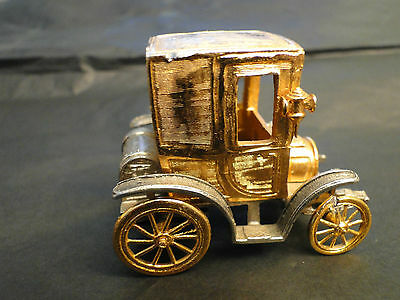 MINIATURE OF  OLD COUPE RENAULT 1900   SILVER  GILDED 800 MADE  CIRCA 1960