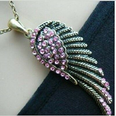 Necklace Angel Wing Pink Crystals Unusual Gift for her Girls womens Love Vintage