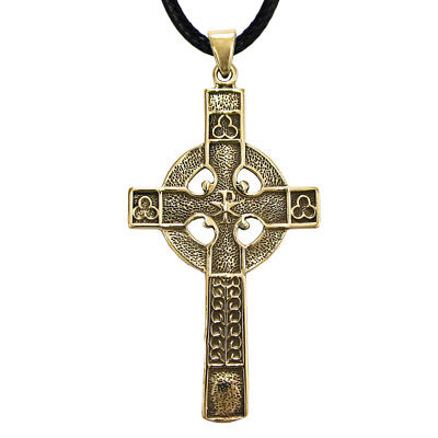 Bronze Celtic Knotwork Cross Knot Pendant Christian Catholic Jewelry Necklace