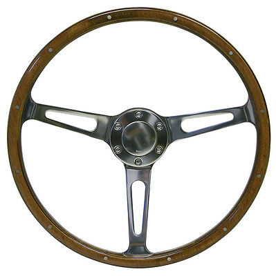 SAAS Genuine Wood Grain Classic Steering Wheel Polished w/ Slots Holes 375mm NEW