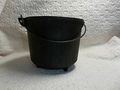 """Antique/Vintage Cast Iron Footed 5"""" Pot/Cauldron w/Bail 4""""Tall Holds  3 1/2Cups"""