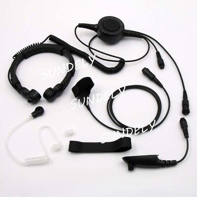 Military Tactical Throat Mic Headset/Earpiece For Motorola Radio HT750 HT1250 US
