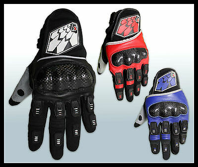 MX Motocross Gloves*Leather*Carbon Fibre Knuckles* Dirt/Quad bike/ATV/Trail/DH
