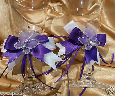 2 WEDDING SATIN BOW SET for TOASTING GLASS CAKE SERVER purple & white butterfly