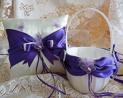 WEDDING PAGE BOY RING PILLOW FLOWER GIRL BASKET purple and white butterfly satin