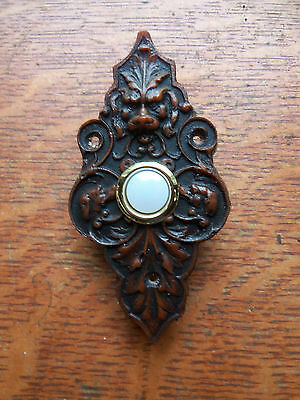 "New Victorian ""Lion & Hound"" Lighted Doorbell Push Button"