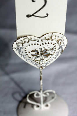 Heart Wedding / Party Table Number Name Place Holders Vintage Style Cream Shabby