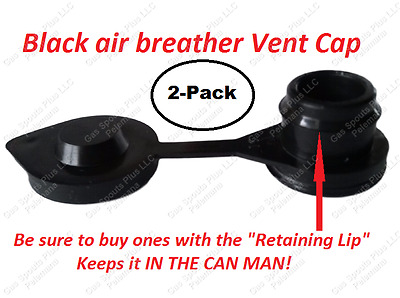 2 BLACK VENT CAPS Fuel Gas Diesel Oil Water Universal Jug Blitz Wedco HEAVY DUTY
