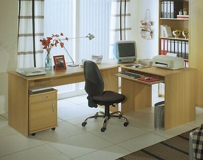 office line winkelkombination schreibtisch tisch mit rollcontainer walnuss dekor eur 279 00. Black Bedroom Furniture Sets. Home Design Ideas