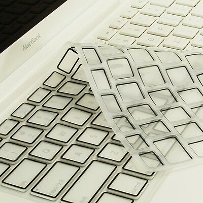 New Arrival! BLACK Silicone Keyboard Cover Skin for  Macbook White A1342