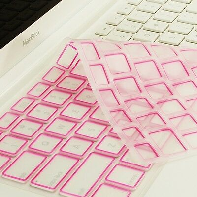 New Arrival! PINK Silicone Keyboard Cover Skin for  Macbook White A1342