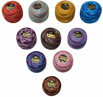10 Variegated Colours of Anchor Crochet Cotton Embroidery Thread Balls