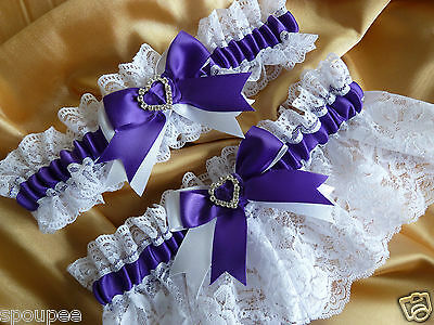 Wedding Garter Set Bridal Purple White Satin And Lace Heart Diamantes Hand Made