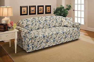 Blue Floral Flower Jersey Sofa Stretch Slipcover Couch Cover Chair Loveseat Sofa