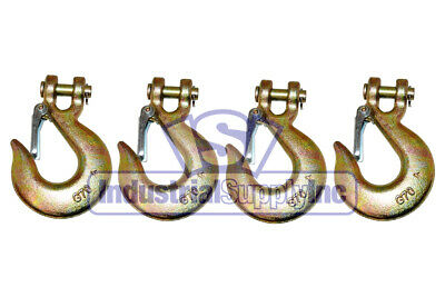 "5/16"" (4-Pk) Steel Plated Clevis Hook w/Safety Latch"