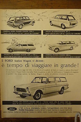 Advertising Pubblicita'  Werbung Ford Station Wagon  Cortina Anglia  -  1963