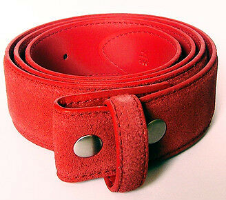BELT - Leather Belt - Red Velvet Suede Look - Length 125cm (XL)