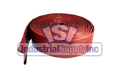 """3"""" x 50' Red Lay Flat 125 PSI Water Discharge Hose"""