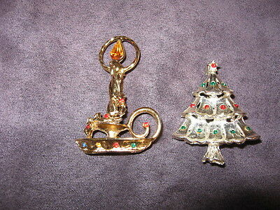 Christmas candle & tree pins F46