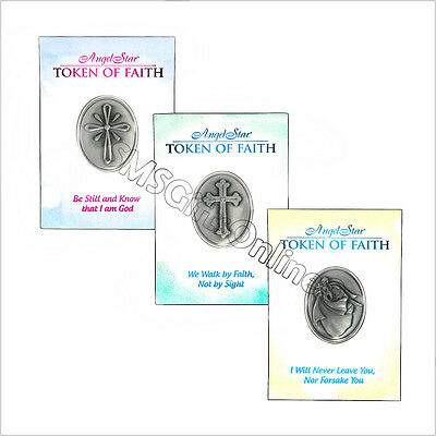 Set of 3 Tokens of Faith With A Message - Be Still, We Walk By, I Will Never