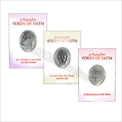 Set of 3 Tokens of Faith With A Message Give Thanks, I Am the Way, A Friend Love