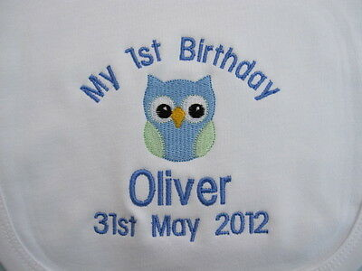 Personalised Baby Bib - Embroidered for Baby's 1st Birthday  - Owl  Great Gift !