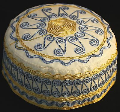 New Kufi Hat Mens Koofi Topi Kofi Embroidery Cap - Gold & Blue # 16 - Size: L-57