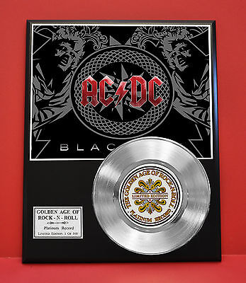 Ac/dc Platinum Record Limited Edition Rare Gift Collectible Music Award