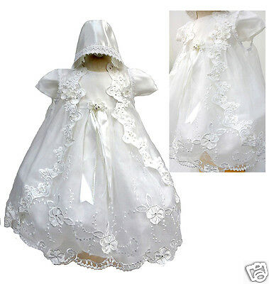 Baby Girl & Toddler Christening Baptism Dress Gown 01234 New Born To 30 M White
