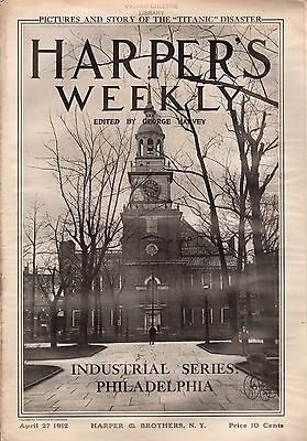 1912 Harper's Weekly April 27-Philadelphnia Issue-Insurance, steel; Roosevelt