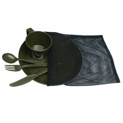 CAMP SET oliv 1 Person Camping Outdoor Geschirr Teller Tasse Besteck Essgeschirr