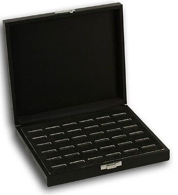 Deluxe Wide Slot Ring Display Case ShowcaseTray 36 Ring Solid Closing Top Lid
