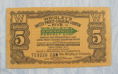 Vintage Wrigley Spearmint Gum Profit Sharing Coupon, p-1728