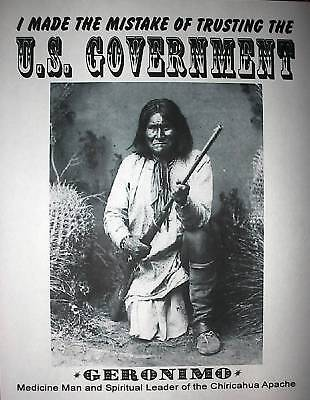 """(201L) NOVELTY POSTER AMERICAN INDIAN GERONIMO OLD WEST 11""""x14"""""""